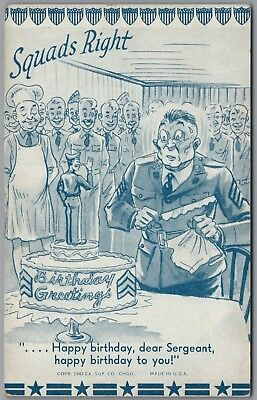 """1942 Wwii Military Comic """"squads Right"""" Birthday Cake, Ex Sup Co Exhibit Card"""
