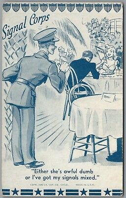 """1942 Wwii Military Comic """"signal Corps"""" Ex Sup Co Exhibit Arcade Card"""