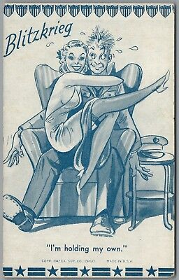 """1942 Wwii Military Comic """"blitzkrieg"""" """"holding My Own"""" Ex Sup Co Exhibit Card"""