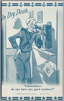 """1942 Wwii Military """"in Dry Dock"""" Sailor On Telephone, Ex Sup Co Exhibit Postcard"""