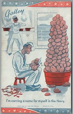 """1941 Wwii Military Comic """"galley"""" Peeling Potatoes Ex Sup Co Exhibit Arcade Card"""