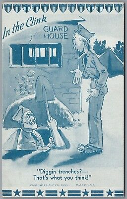 """1942 Wwii Military Comic """"in The Clink"""" Ex Sup Co Exhibit Arcade Card"""
