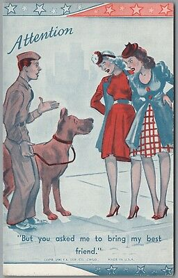 """1941 Wwii Military Comic """"attention"""" Large Dog,  Ex Sup Co Exhibit Arcade Card"""
