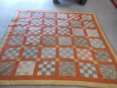 Antique Handmade Early Calicos Feedsack Estate Quilt Must See