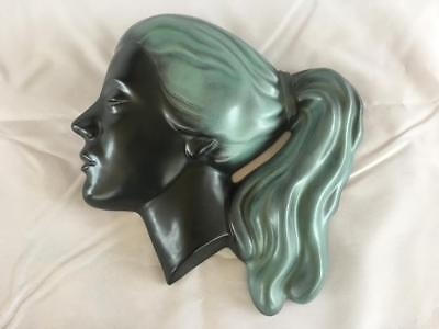 FINE ART DECO GOLDSCHEIDER STYLE HAND PAINTED WALL MASK.No 5105.  C1930.