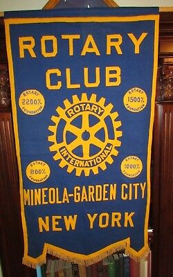 Vintage Rotary Club International Mineola Garden City NY Large Wall Banner Flag