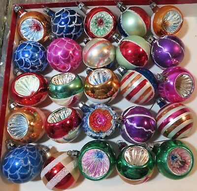 25 Vintage Hand painted Poland Christmas Ornaments Glitter, Indents