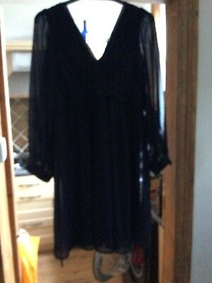 ASOS formal maternity dress navy blue with sheer long sleeves size 14