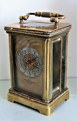 Rare Antique c 1890 MAPPIN & WEBB Brass Carriage Mantel Clock Key Working