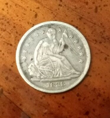 1838 No Drapery Seated Liberty Silver Half Dime XF Details * US Coin