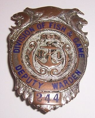 Vintage  State Of R.i. Division Of Fish And Game Deputy Warden Badge