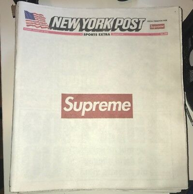 Supreme New York Post Newspaper New August 13th 2018