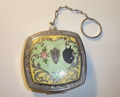 Vintage Guilloche Enamel  Vanity Compact Finger Chain  (AS-IS)