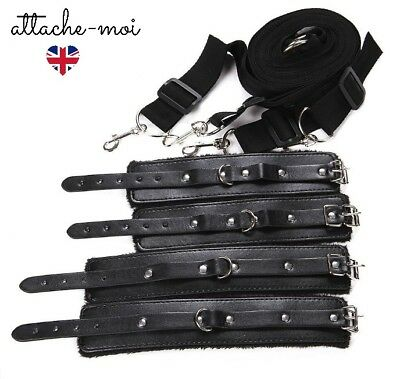 Bondage Under Bed Restraints Under Mattress Cuffs With Faux Leather and Fur
