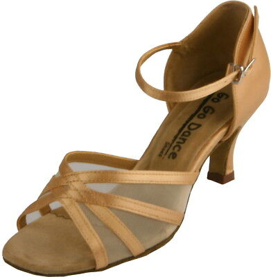 Go Go Dance Shoes- Tan Satin and Mesh Ballroom Shoe