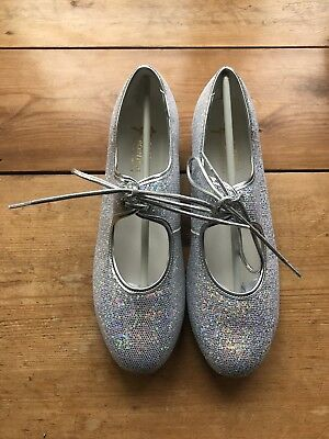 Silver Glitter Low Heel Tap Dance Shoes By Tappers and Pointers Adult Size 6