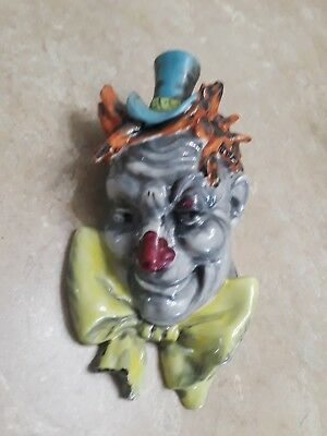 Vintage Halloween scary clown wall pocket vibrant colors, Japan stamped