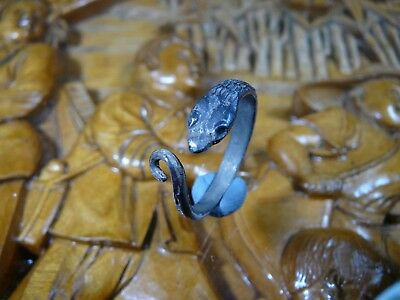 Stunning Unique Ancient Roman Silver ring Snake Senatorial Fine artifact