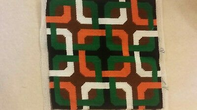 Complete wool tapestry asbtract motive - beautiful handmade work 1970s retro