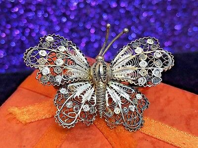 Antique Sterling Silver 800 Butterfly Pin Brooch  Filigree Ornate Gold Vermeil