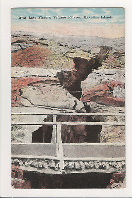 Antique Postcard Kilauea Volcano Lava Field Fissure Crack W Log Bridge Hawaii