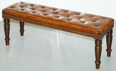 Restored Victorian Chesterfield Whiskey Brown Leather Bench Window Seat Stool