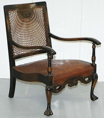 Circa 1910 Spanish Mahogany & Brown Leather Open Library Readying Armchair