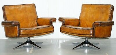 Pair Of Restored 1960's De Sede Ds 35 Hand Dyed Whiskey Brown Leather Armchairs