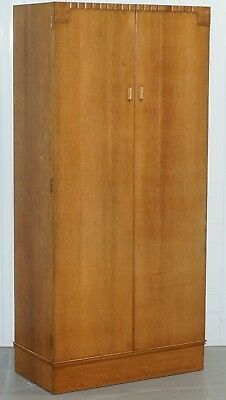 Lovely Edwardian Satin Oak Hand Carved Wood Medium Sized Wardrobe Floral Carved