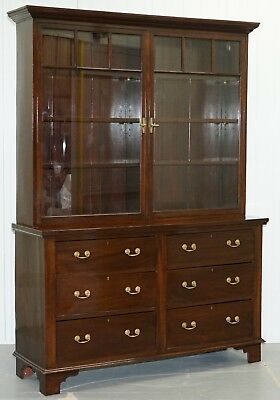 Late Georgian Early Victorian Mahogany Library Bookcase Dresser Cabinet Drawers