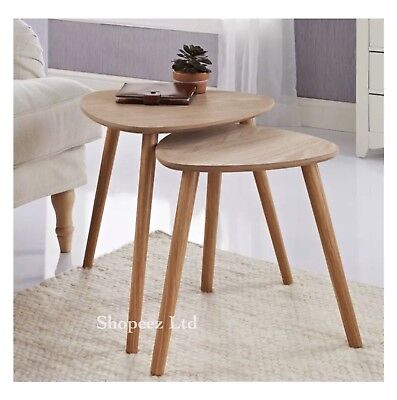 Malmo Set Of 2 Tables Elegant Style Solid Home Office Living Room Table Wood New