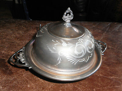Fancy Etched Antique Van Bergh SilverPlate Co Domed Butter Dish & Glass Liner