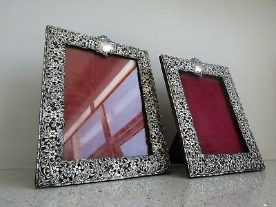 LOVELY PAIR Extra Large ANTIQUE SILVER PHOTO FRAME 2 Mirror Picture Frames 28cm