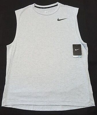 Mens Nike Dri-Fit Muscle Training light gray Tank Top Shirt Large