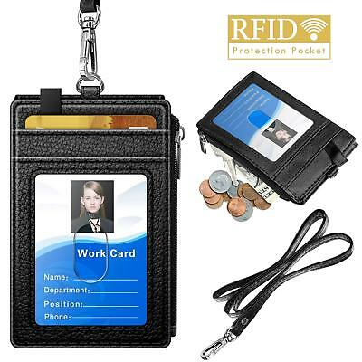 Badge Holder with Zipper, ELV PU Leather ID Badge Card Holder Wallet with 5 Card