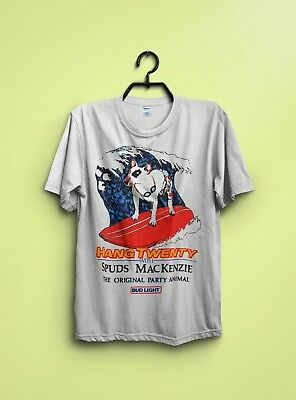 Vintage 80s Spuds Mackenzie Bud Light Hang Twenty t-shirt Reprint Size S - 3XL