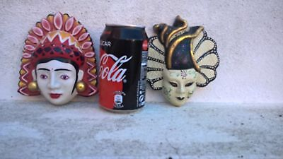 Lot of 2 Vintage hand painted porcelain Chinese masks theater opera make-up 70´s