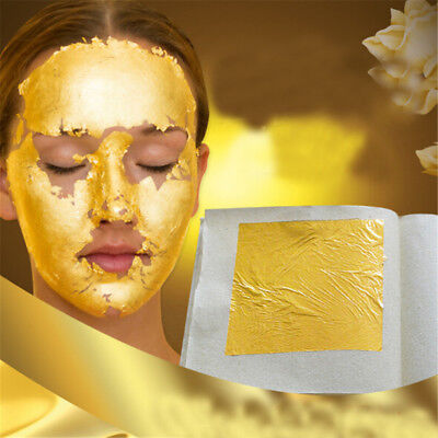 5Pcs 24K Pure Gold Edible Real Gold Leaf Sheet Gilding Craft Mask SPA 4.33cm KQ