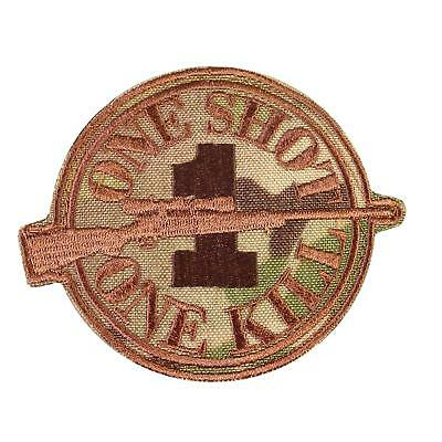 ONE SHOT KILL sniper morale embroidered multicam badge army sew iron on patch