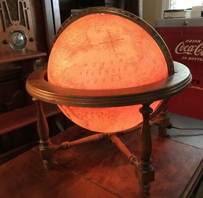 """VINTAGE REPLOGLE 12"""" GLOBE World Premier Wood Stand Lighted Topography 16"""" Tall"""