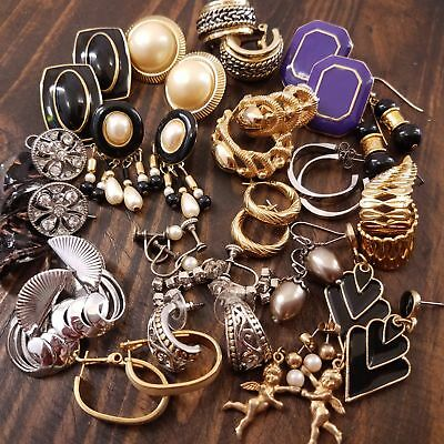 Vintage Jewelry Lot 20 Pair 40 PC All Earrings Monet Estate Goodies