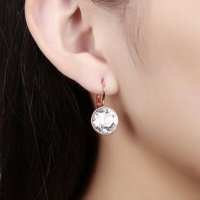 BELLA MINI PIERCED EARRINGS, WHITE, RHODIUM made with Crystal