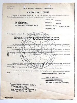 Nuclear Reactor Operator License US Atomic Energy Commission UC Berkeley 1975