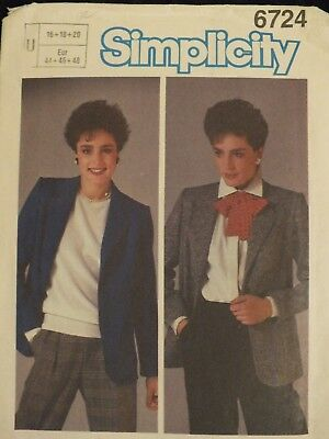 Lovely/Easy VTG 84 SIMPLICITY 6724 Misses Unlined Jacket PATTERN 16-18-20 UC