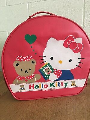 Rare Red vintage hello kitty & bear Sanrio 1976 carry on luggage suitcase bag