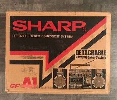 Sharp Gf-A1 (D) Portable Stereo Detachable Boombox Dark Gray VTG Orig In Box