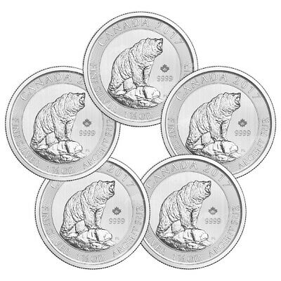 Lot of 5 x 1.5 oz 2017 Canadian Grizzly Bear Silver Coin