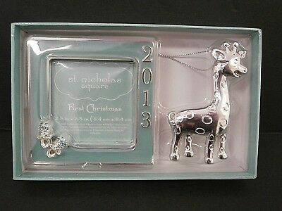 St Nicholas Square 2013 Frame & Ornament First Christmas Gift Set Baby Teal Boy