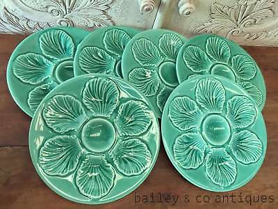 French Vintage Oyster Plates Set of Six Rare Aqua Green Faience - OF591