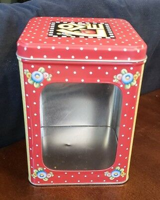 """Mary Engelbreit Tall Square Tin """"Love Friend Family Home"""""""
